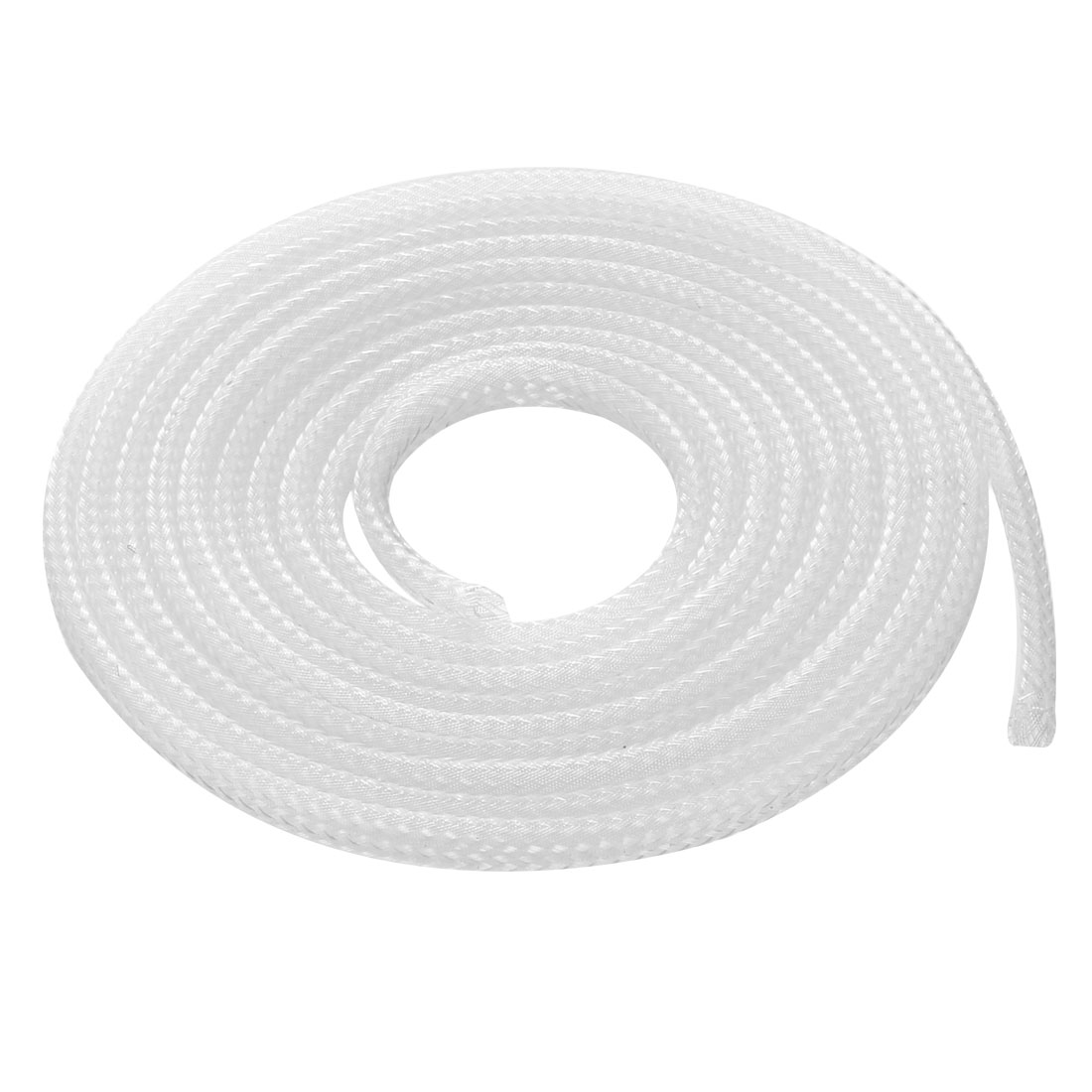 3mm Dia Tight Braided PET Expandable Sleeving Cable Wrap Sheath Clear 1M