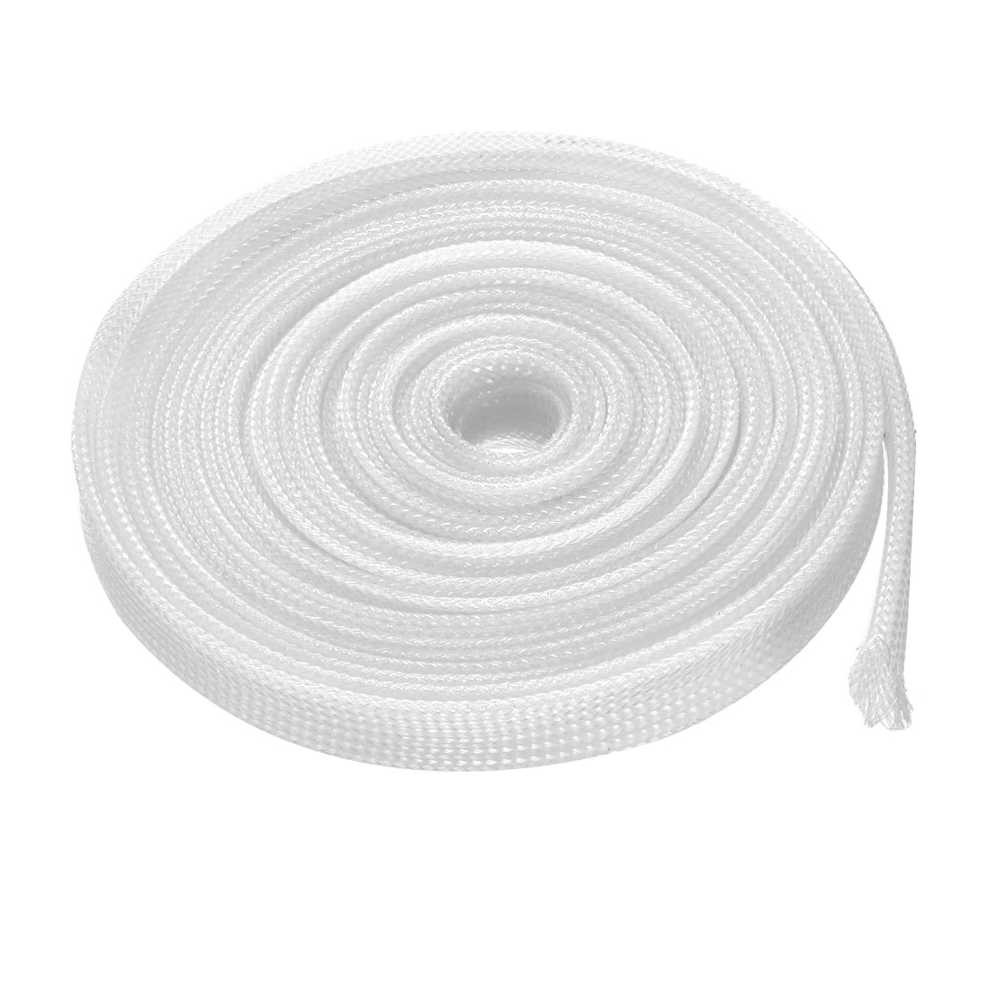6mm Flat Dia Tight Braided PET Expandable Sleeving Cable Wrap Sheath Clear 5M