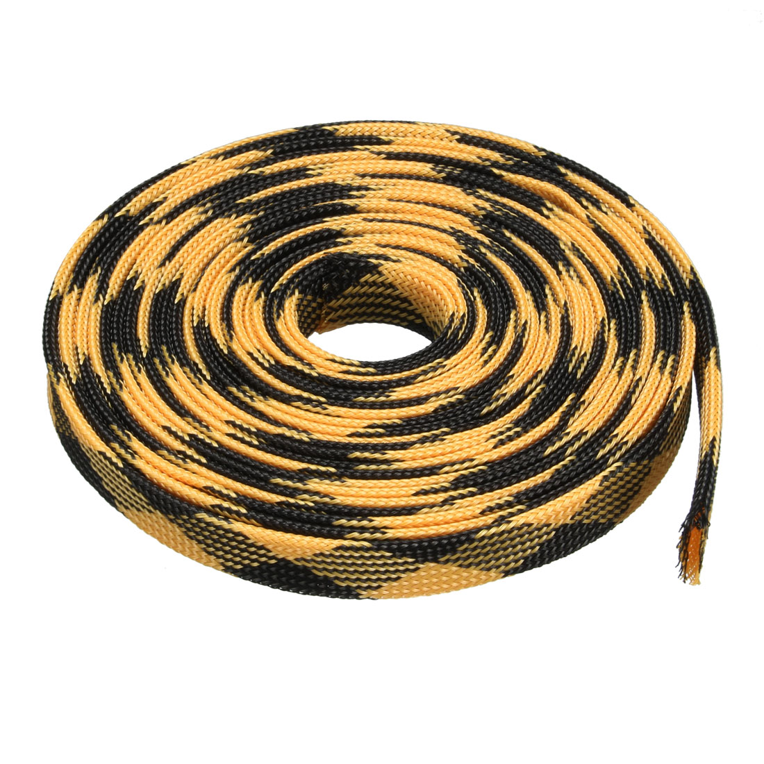 12mm Dia Tight Braided PET Expandable Sleeving Cable Wrap Sheath Black Yellow 16Ft