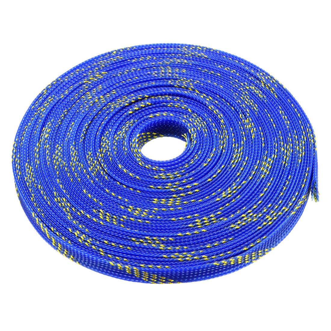 12mm Dia Tight Braided PET Expandable Sleeving Cable Wrap Sheath Golden Blue 32Ft