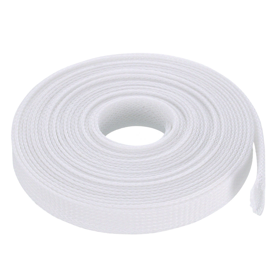 12mm Flat Dia Tight Braided PET Expandable Sleeving Cable Wrap Sheath White 5M
