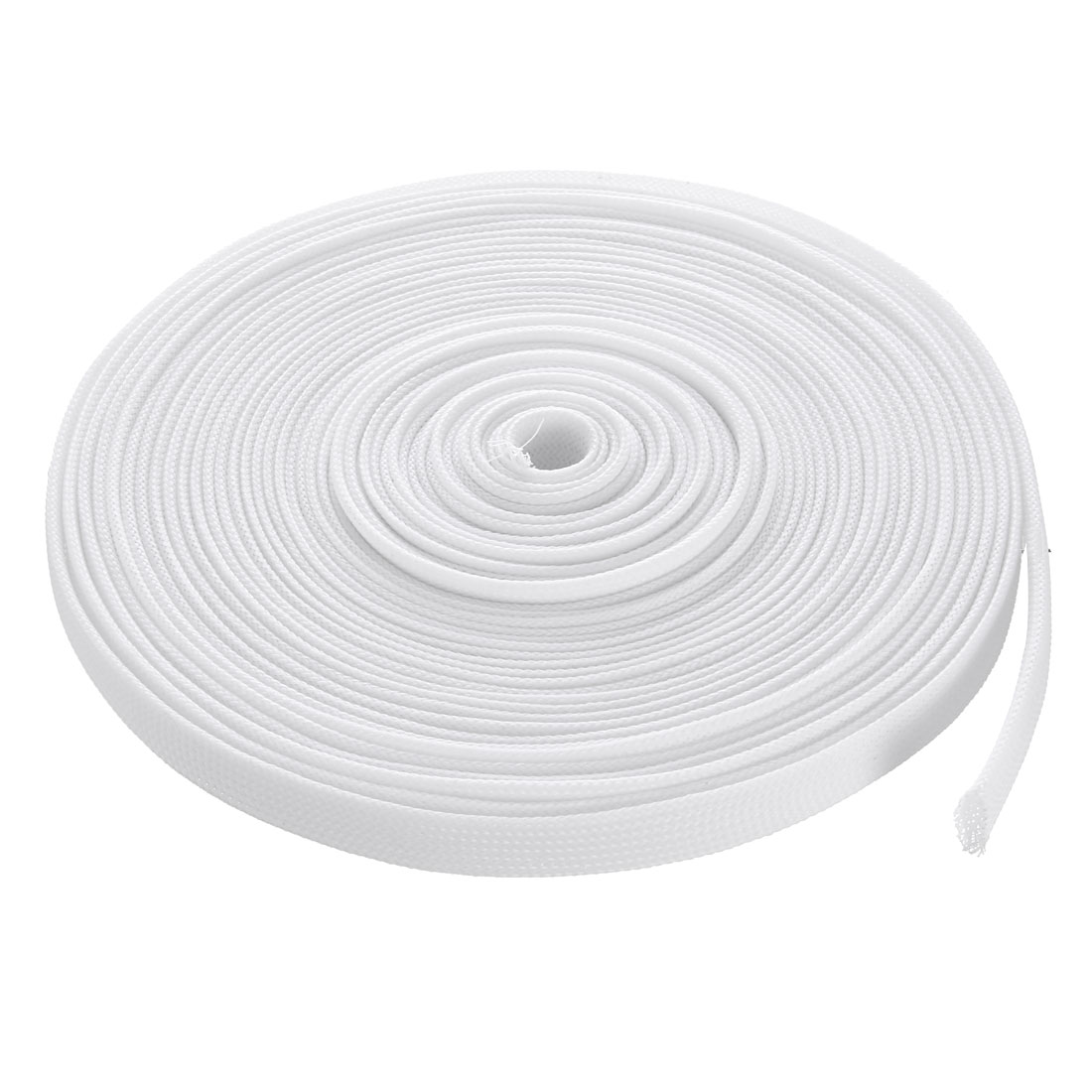12mm Flat Dia Tight Braided PET Expandable Sleeving Cable Wrap Sheath White 10M