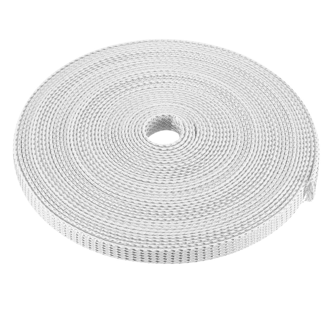 12mm Dia Tight Braided PET Expandable Sleeving Cable Wrap Sheath Silver White 32Ft