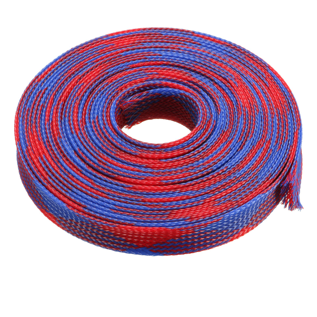 12mm Dia Tight Braided PET Expandable Sleeving Cable Wrap Sheath Blue Red 16Ft