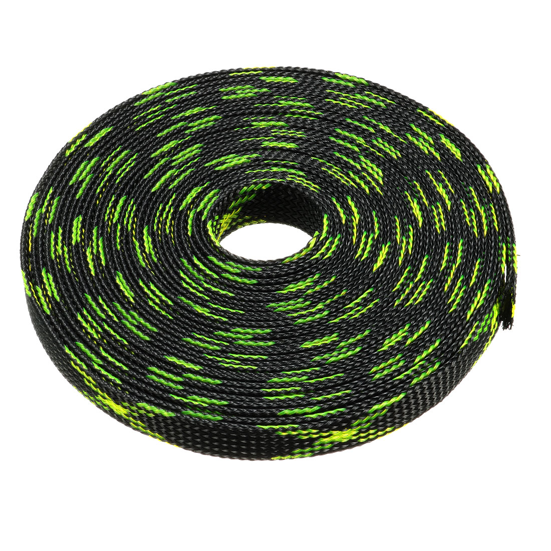 12mm PET Cable Wire Wrap Expandable Braided Sleeving Black Fluorescent Green 5M Length