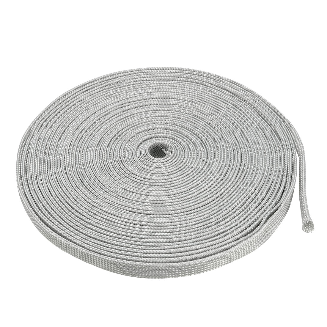 12mm Dia Tight Braided PET Expandable Sleeving Cable Wire Wrap Sheath Gray 10M
