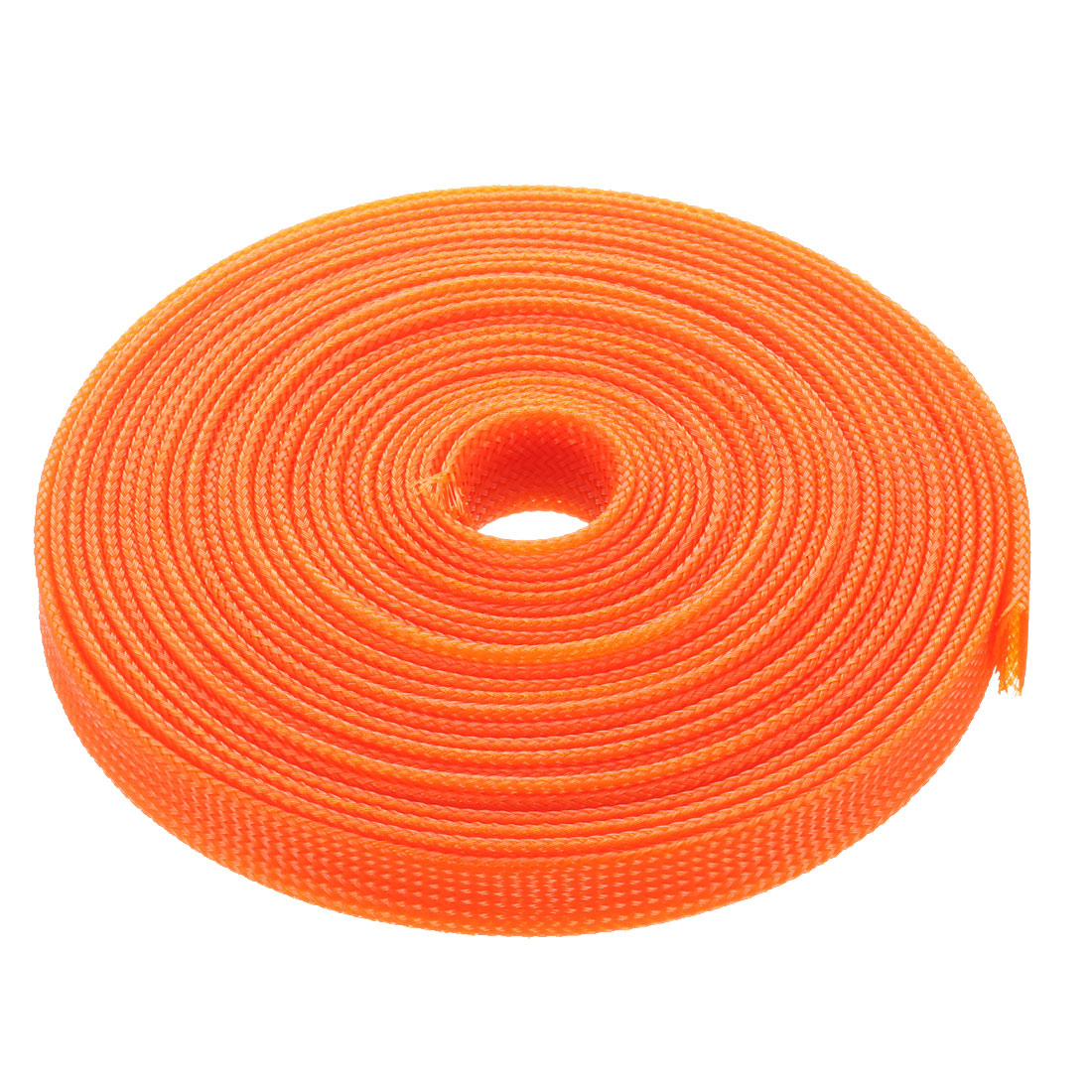 12mm Dia Tight Braided PET Expandable Sleeving Cable Wrap Sheath Orange 16Ft