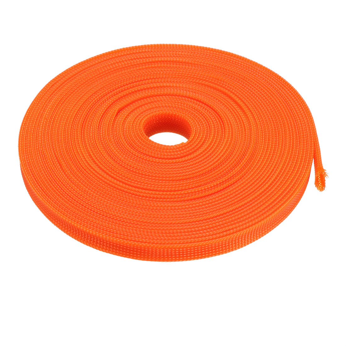 12mm Dia Tight Braided PET Expandable Sleeving Cable Wrap Sheath Orange 32Ft