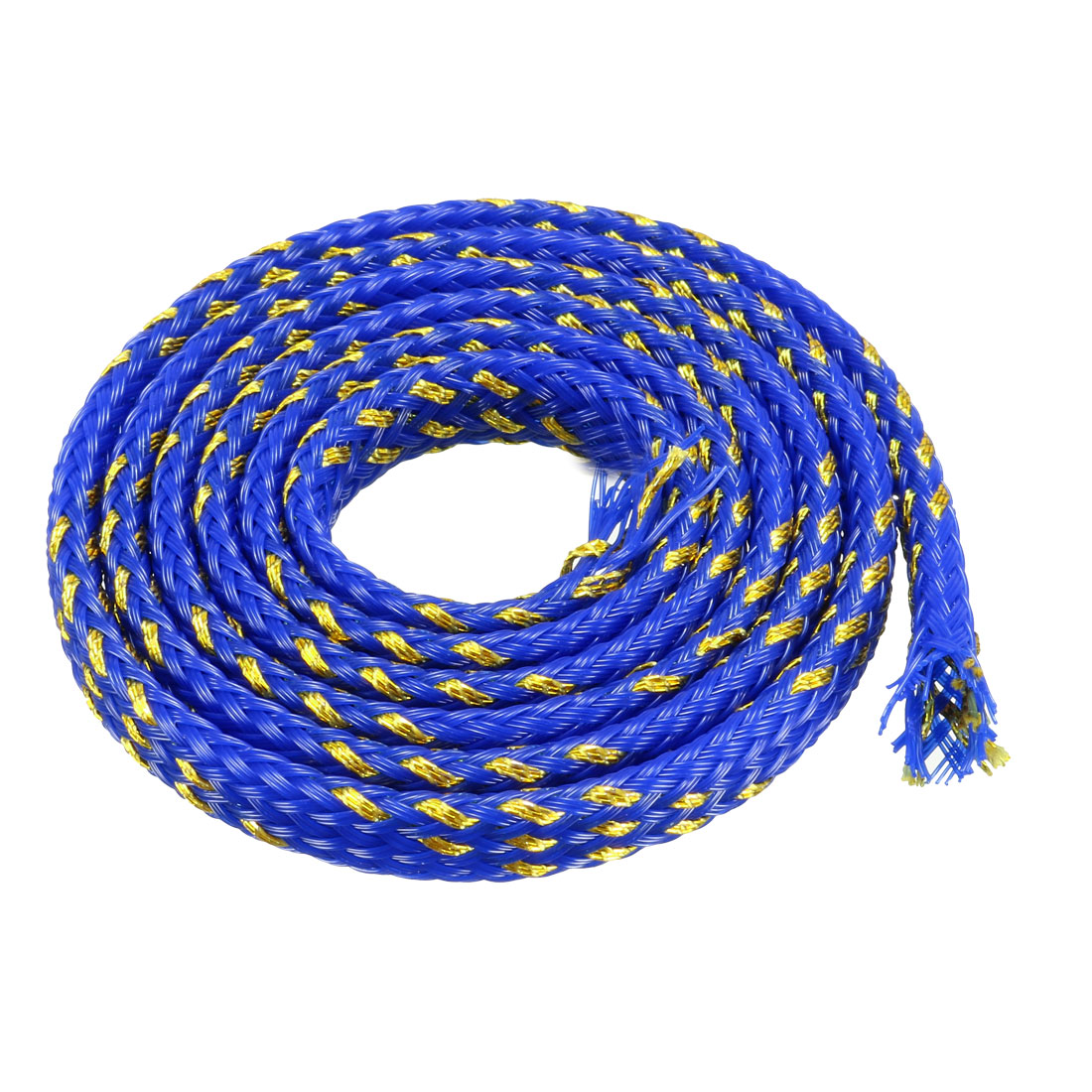 4mm Dia Tight Braided PET Expandable Sleeving Cable Wrap Sheath Golden Blue 5CM Length