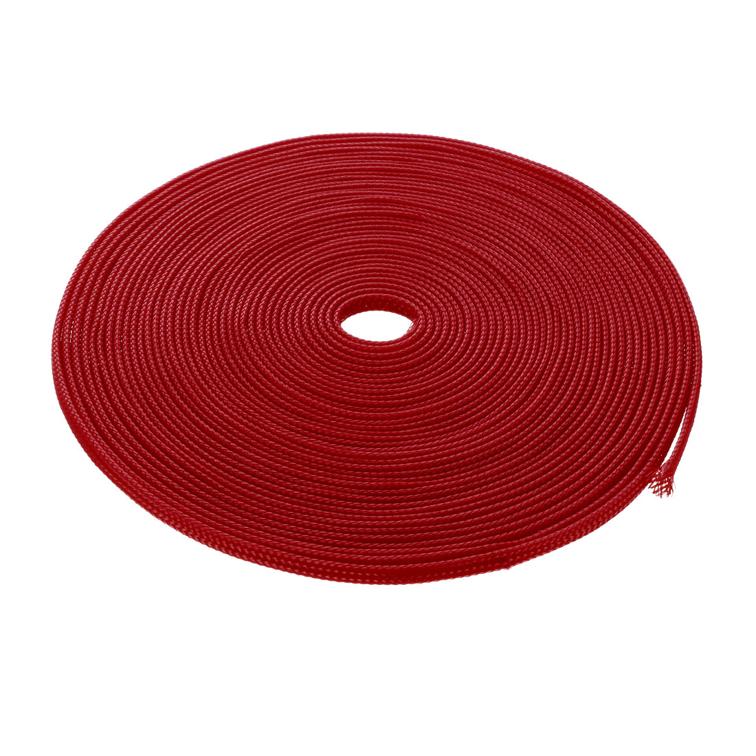 6mm Dia Tight Braided PET Expandable Sleeving Cable Wire Wrap Sheath Red 10M
