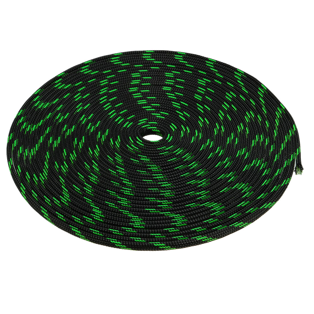 4mm Dia Tight Braided PET Expandable Sleeving Cable Wrap Sheath Black Green 32ft