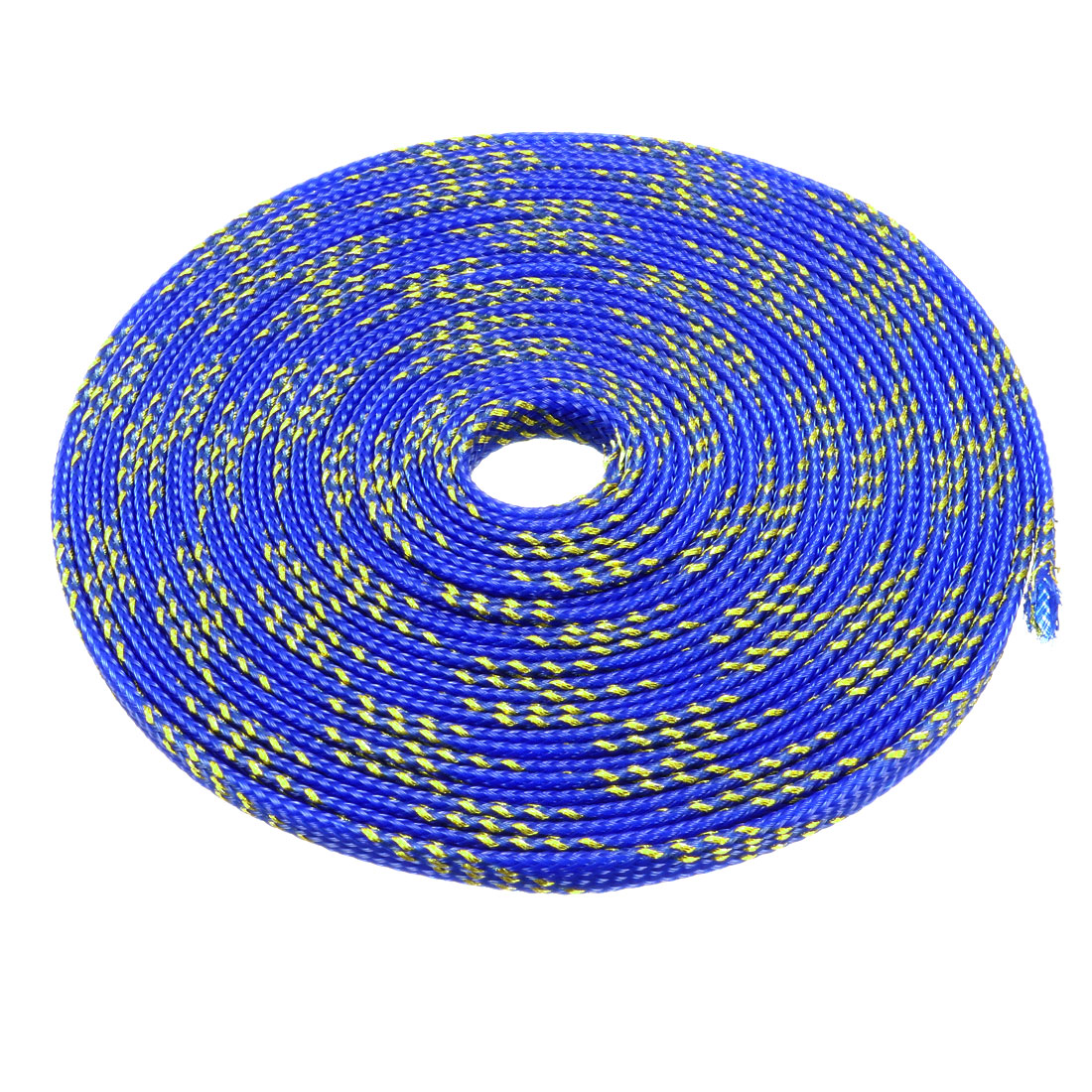 6mm Dia Tight Braided PET Expandable Sleeving Cable Wrap Sheath Golden Blue 16Ft