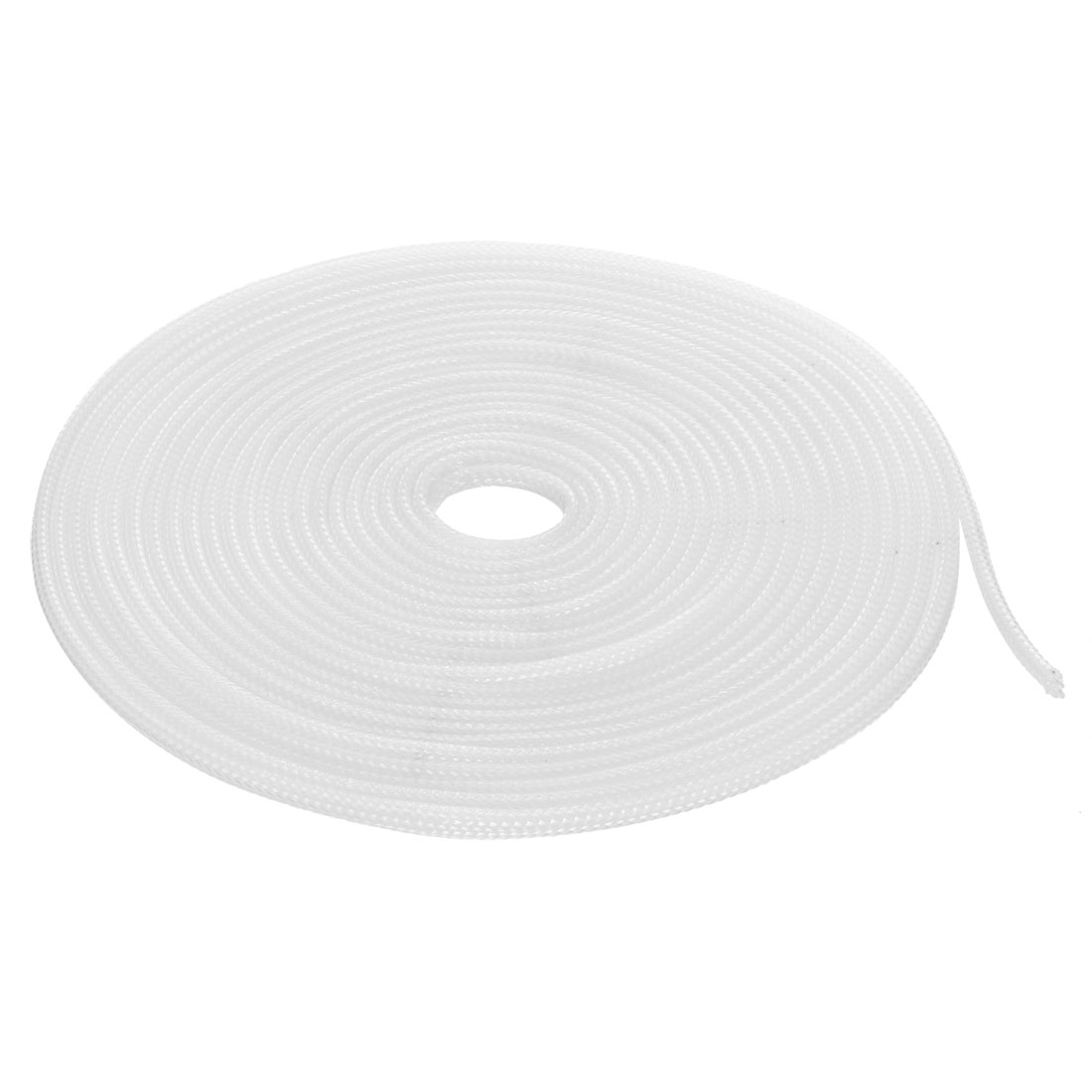 4mm Flat Dia Tight Braided PET Expandable Sleeving Cable Wrap Sheath White 5M