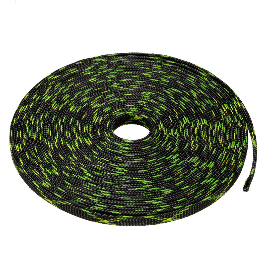 10mm PET Cable Wire Wrap Expandable Braided Sleeving Black Fluorescent Green 10M Length