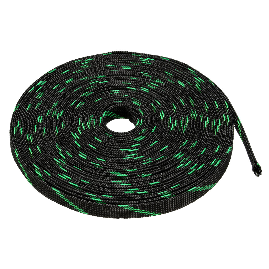 10mm Dia Tight Braided PET Expandable Sleeving Cable Wrap Sheath Black Green 16ft