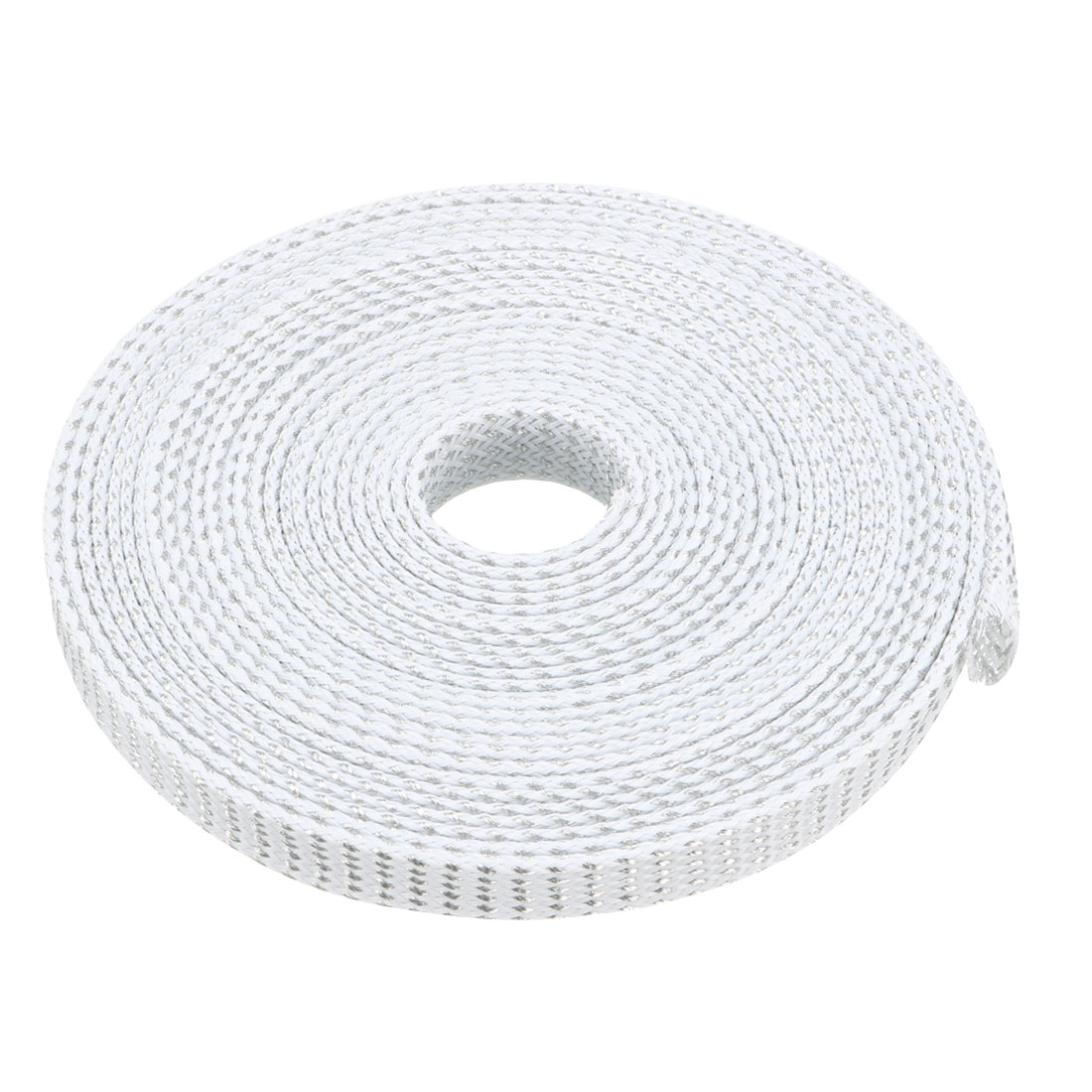 10mm Dia Tight Braided PET Expandable Sleeving Cable Wrap Sheath Silver White 16Ft