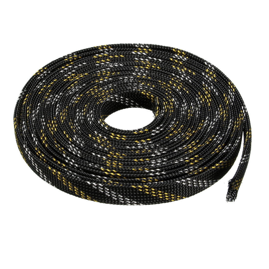 10mm PET Cable Wire Wrap Expandable Braided Sleeving Black Golden 5M Length