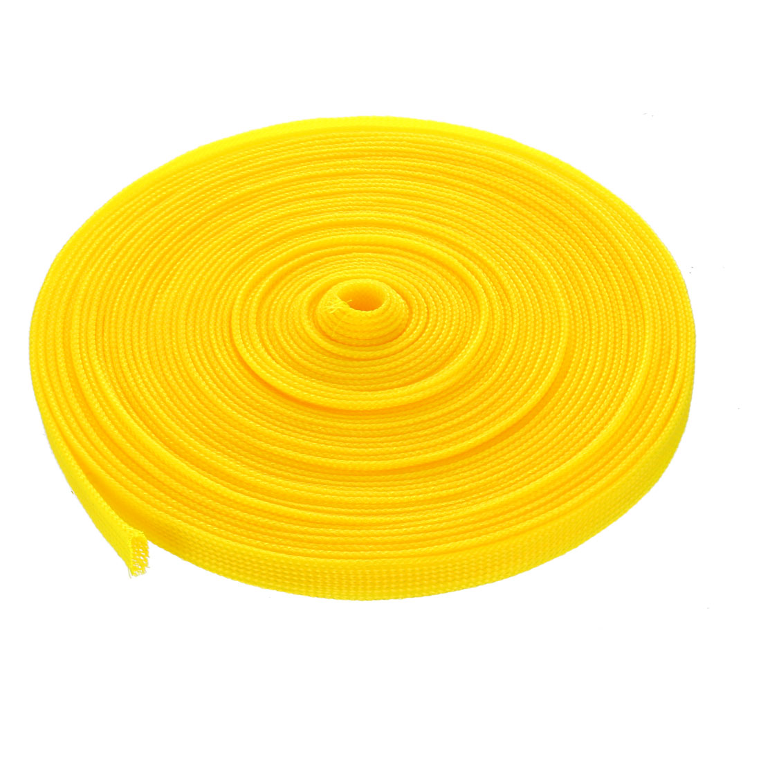 10mm Dia Tight Braided PET Expandable Sleeving Cable Wire Wrap Sheath Yellow 10M