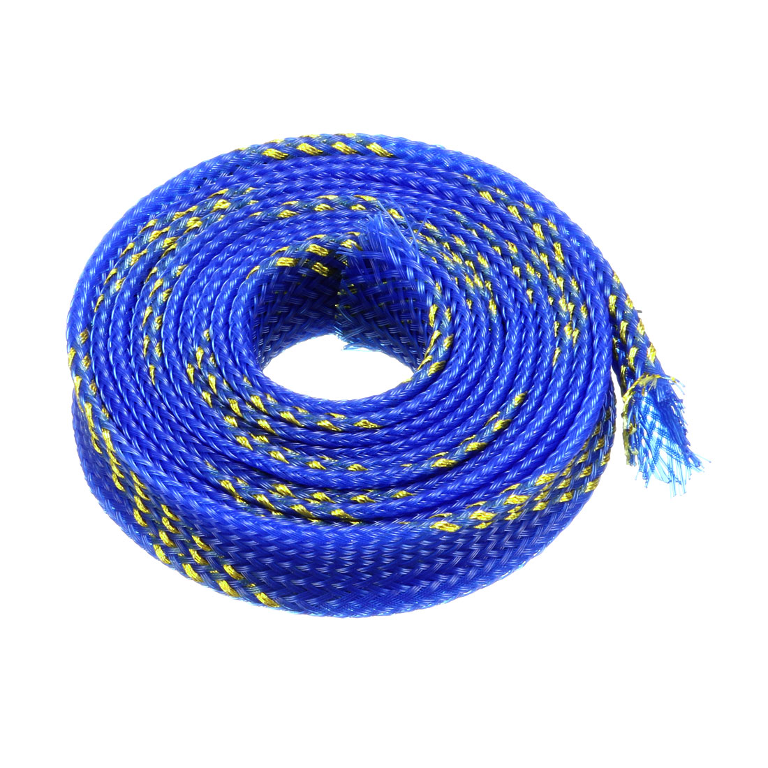 10mm Dia Tight Braided PET Expandable Sleeving Cable Wrap Sheath Golden Blue 1M Length