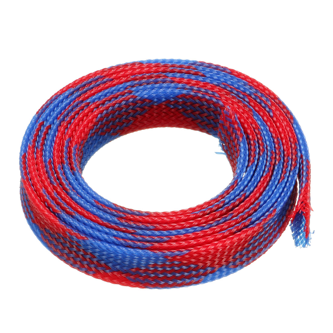 10mm Dia Tight Braided PET Expandable Sleeving Cable Wrap Sheath Blue Red 1M Length