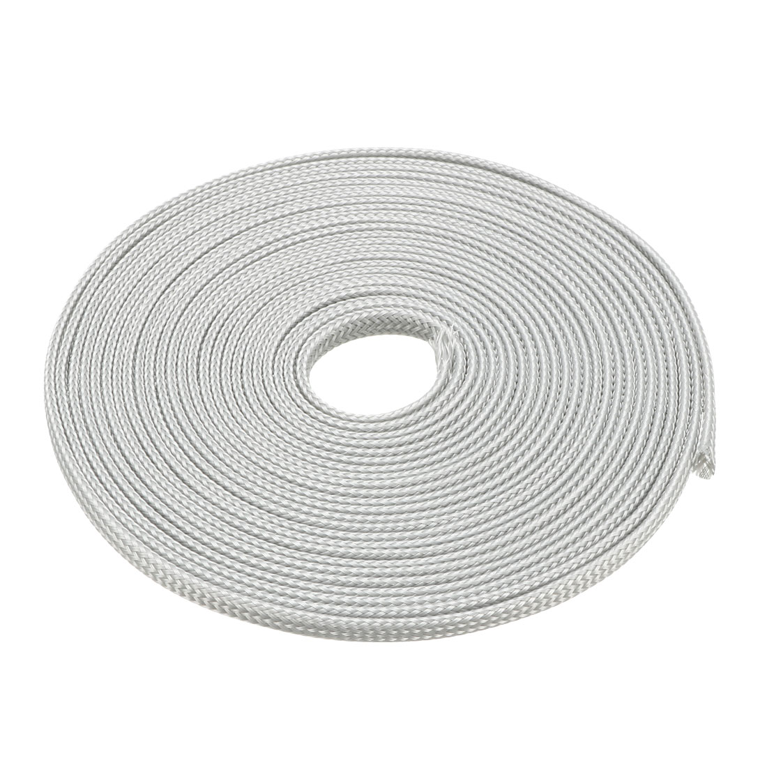 3mm Dia Tight Braided PET Expandable Sleeving Cable Wire Wrap Sheath Gray 5M