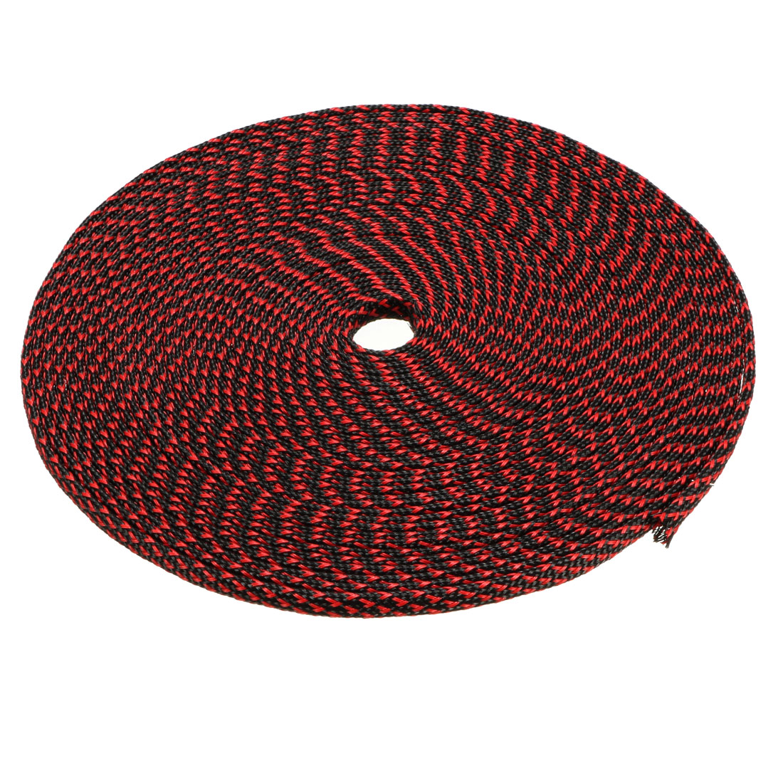 3mm Dia Tight Braided PET Expandable Sleeving Cable Wrap Sheath Black Red 32Ft