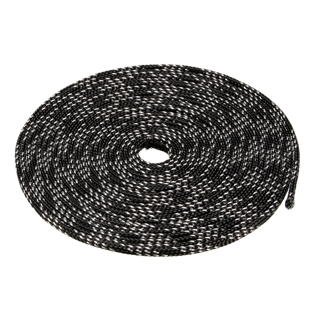 3mm PET Cable Wire Wrap Expandable Braided Sleeving Black Silver Tone 5M Length