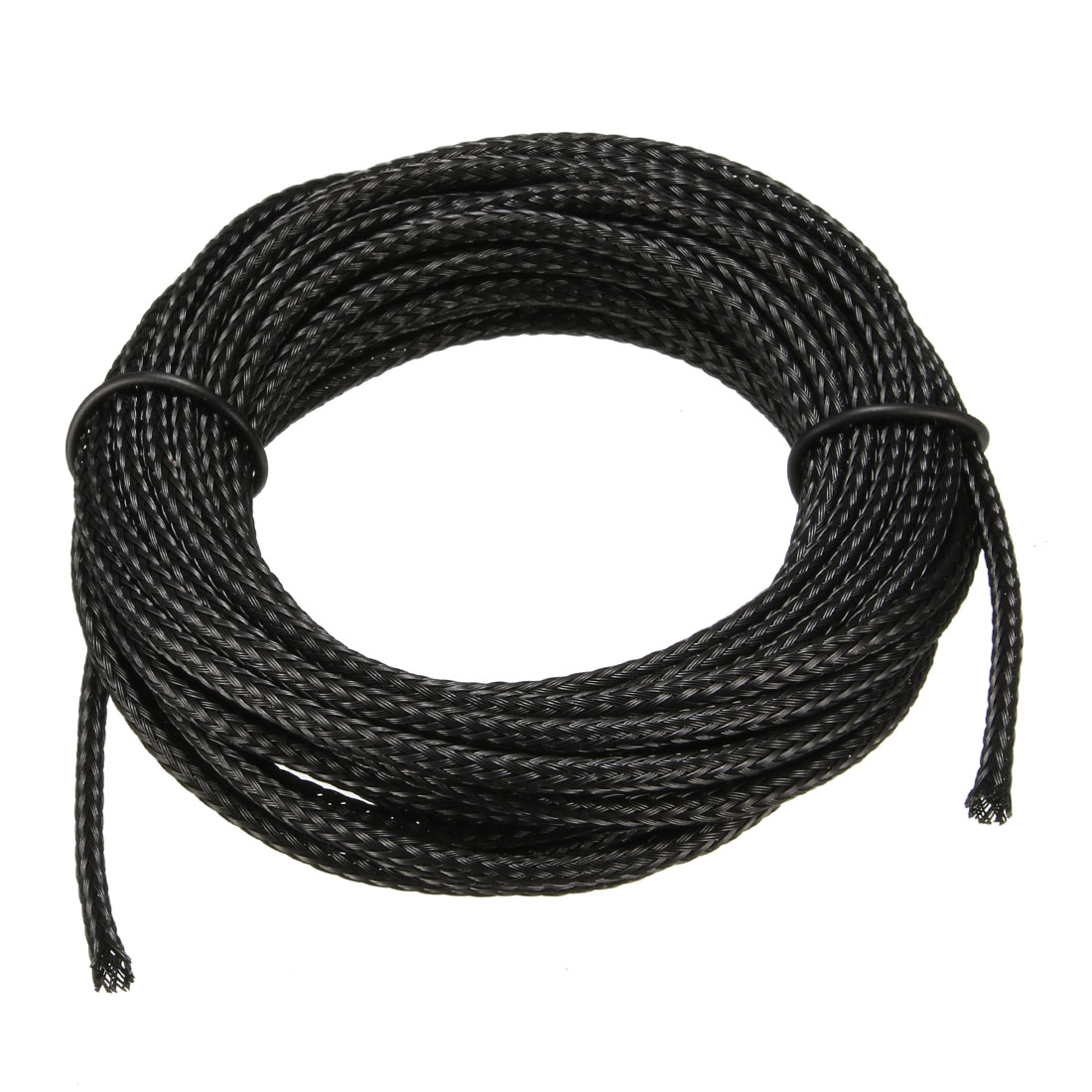4mm Flat Dia Tight Braided PET Expandable Sleeving Cable Wrap Sheath Black 5M
