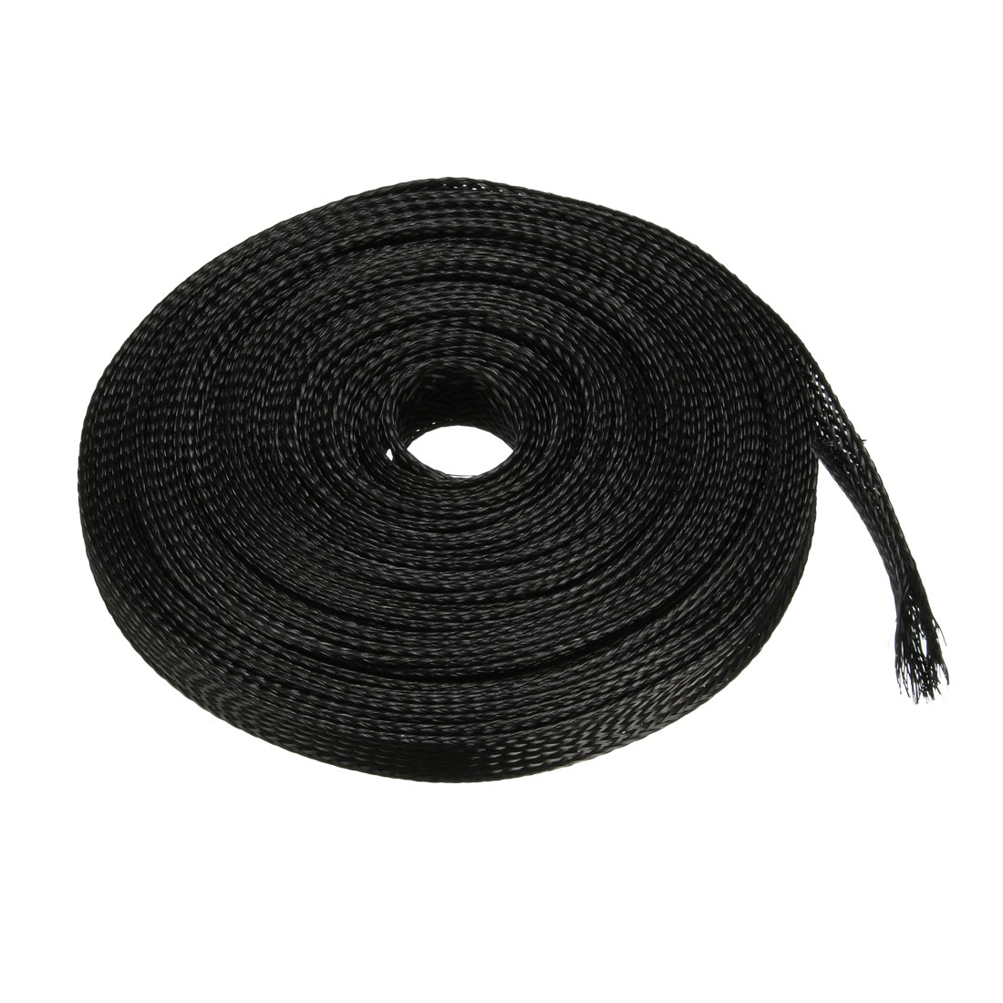 10mm Flat Dia Tight Braided PET Expandable Sleeving Cable Wrap Sheath Black 10M