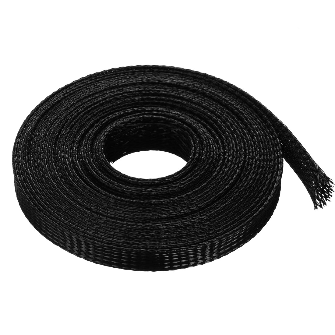 12mm Flat Dia Tight Braided PET Expandable Sleeving Cable Wrap Sheath Black 5M