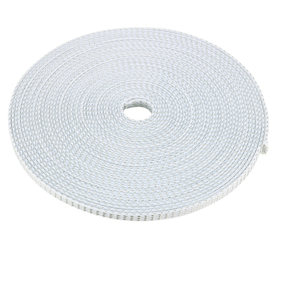 6mm Dia Tight Braided PET Expandable Sleeving Cable Wrap Sheath Silver White 32Ft