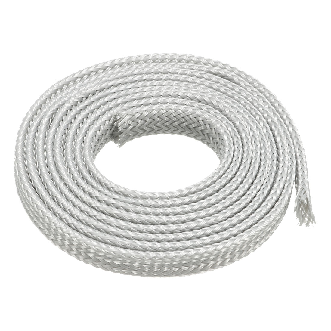 PET Braided Sleeving 3.3 Feet 1m Expandable Cable Wrap 6mm Diameter Wire Sheath Silver White
