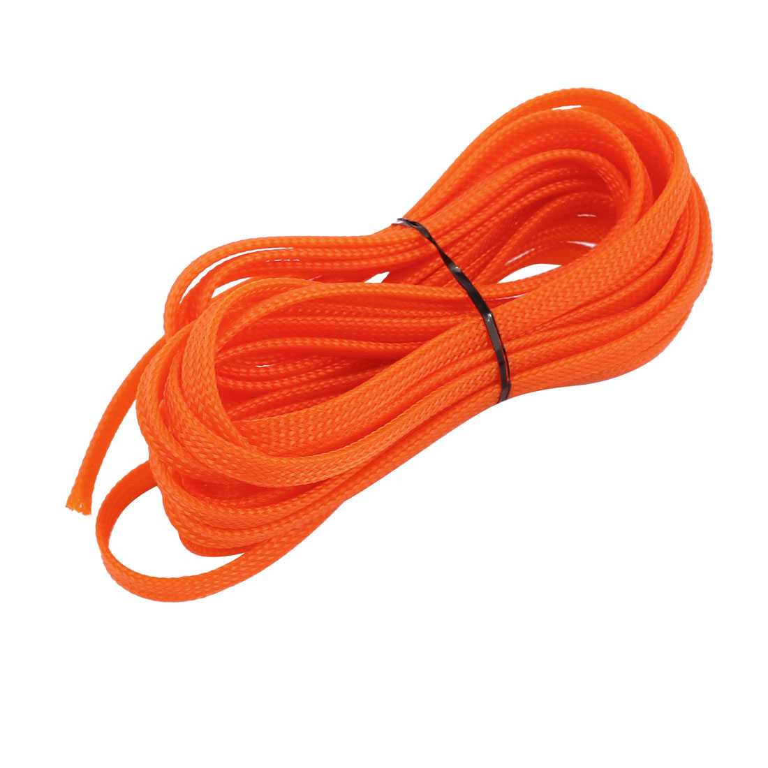 6mm Dia Tight Braided PET Expandable Sleeving Cable Wrap Sheath Orange 16Ft