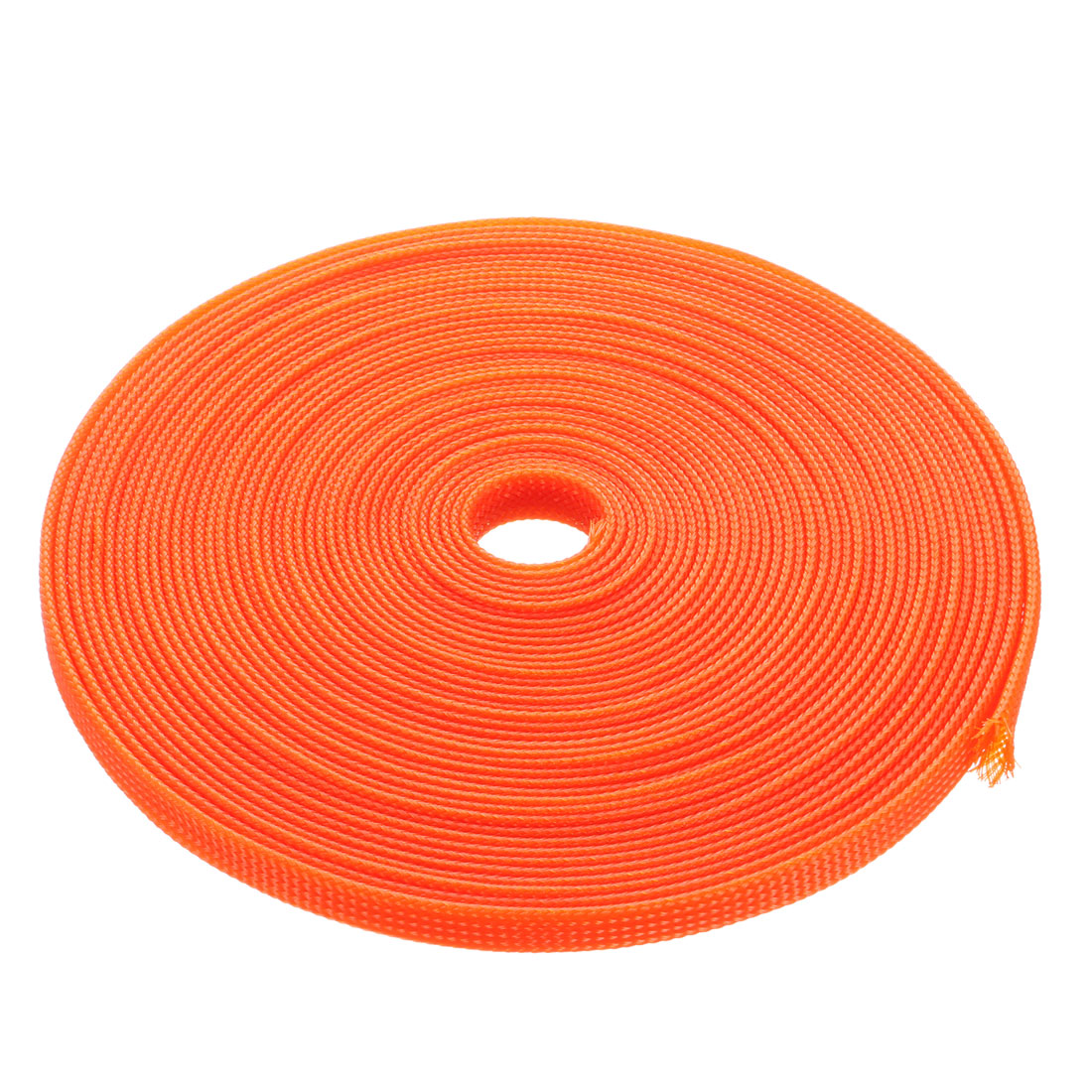 6mm Dia Tight Braided PET Expandable Sleeving Cable Wrap Sheath Orange 32Ft