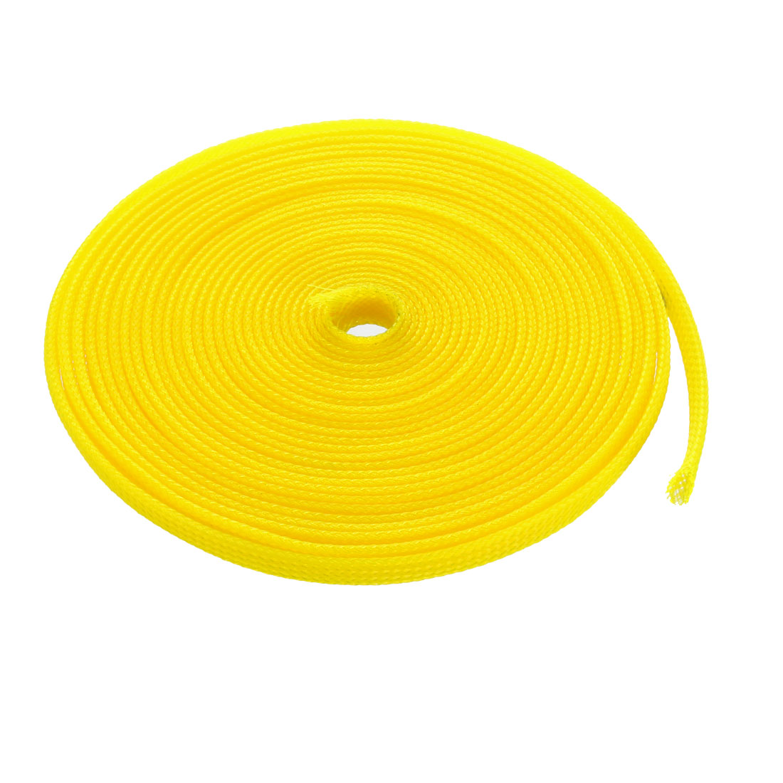 6mm Dia Tight Braided PET Expandable Sleeving Cable Wire Wrap Sheath Yellow 5M