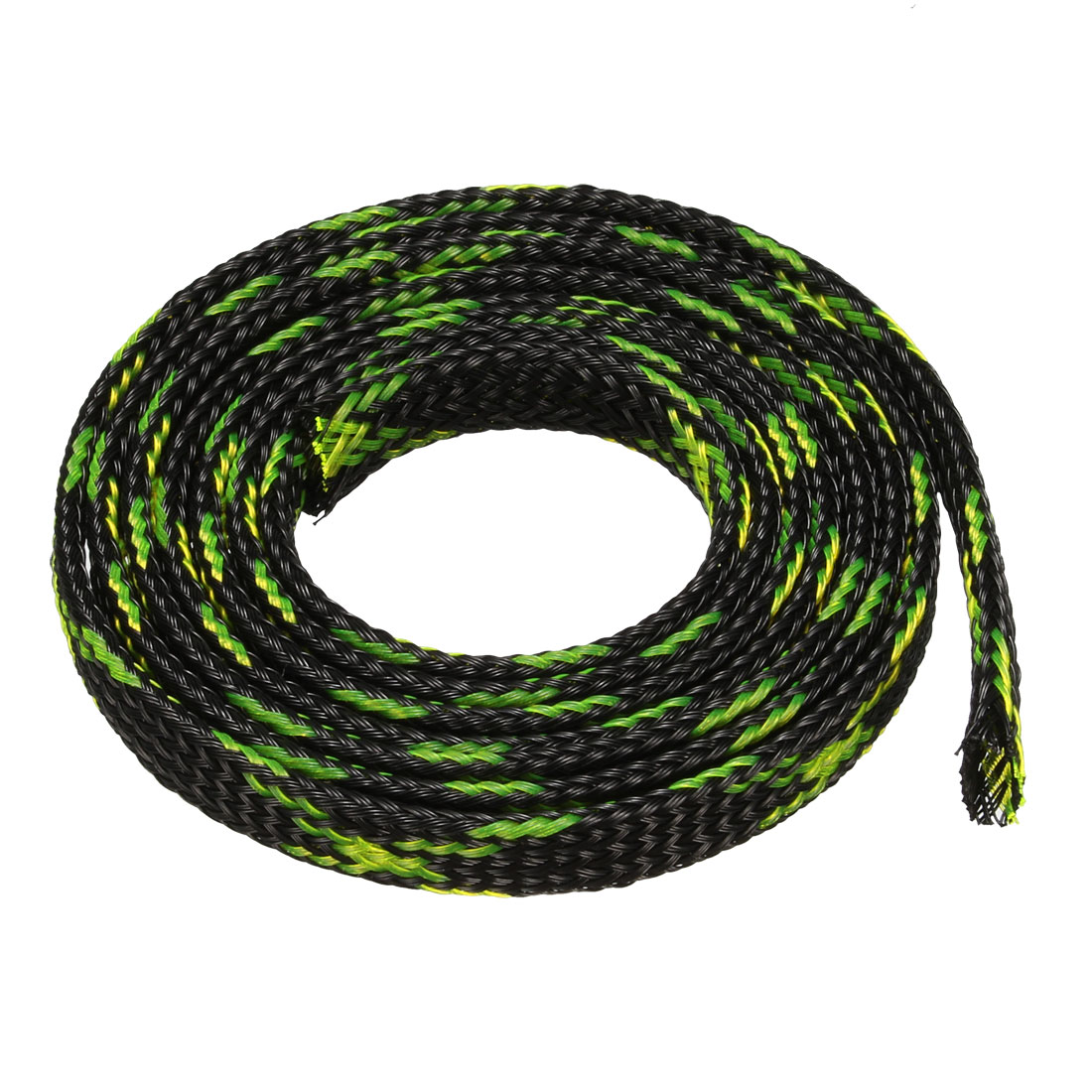 6mm PET Cable Wire Wrap Expandable Braided Sleeving Black Fluorescent Green 75cm Length
