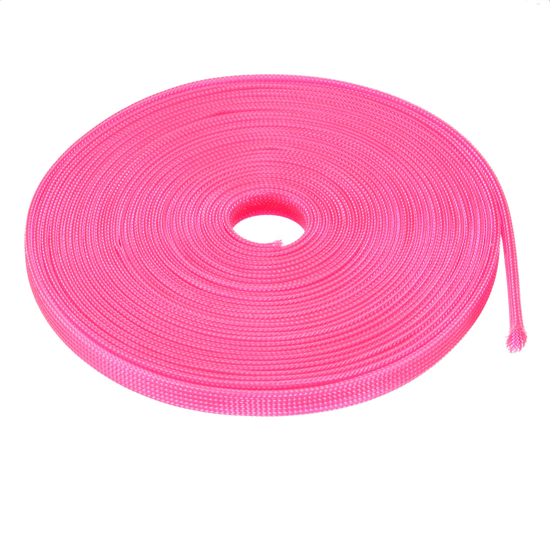 6mm Dia Tight Braided PET Expandable Sleeving Cable Wire Wrap Sheath Pink 10M
