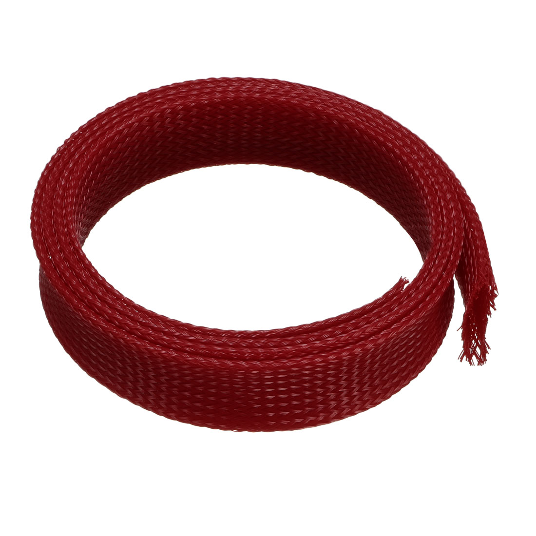 PET Braided Sleeving 3.3 Feet 1m Expandable Cable Wrap 25mm Diameter Wire Sheath Red