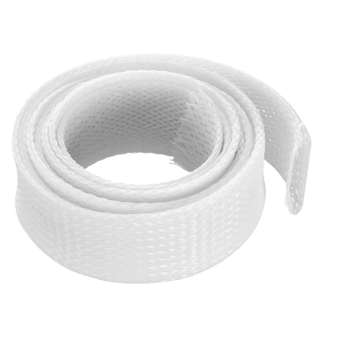 25mm Flat Dia Tight Braided PET Expandable Sleeving Cable Wrap Sheath White 1M