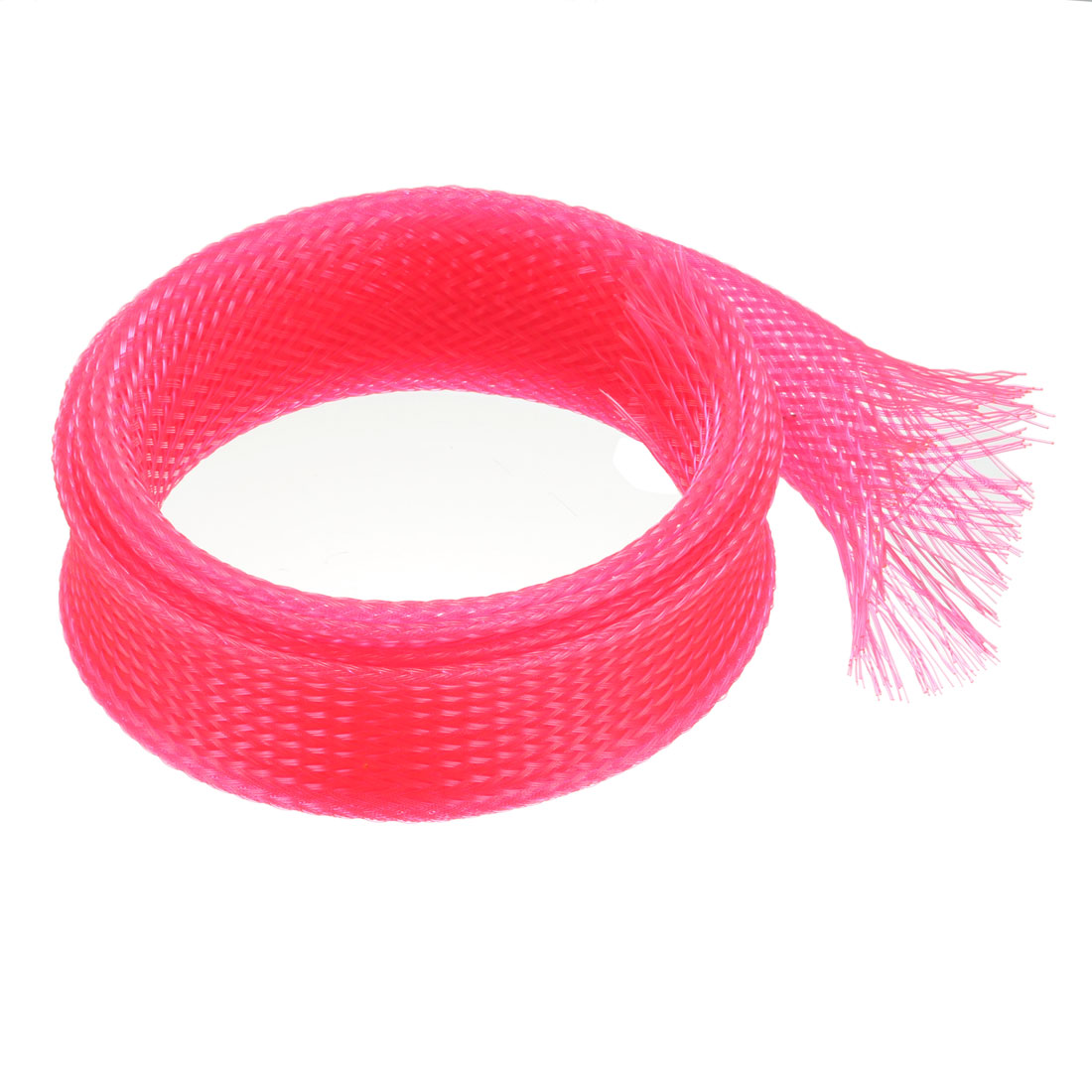25mm Dia Tight Braided PET Expandable Sleeving Cable Wire Wrap Sheath Pink 1M