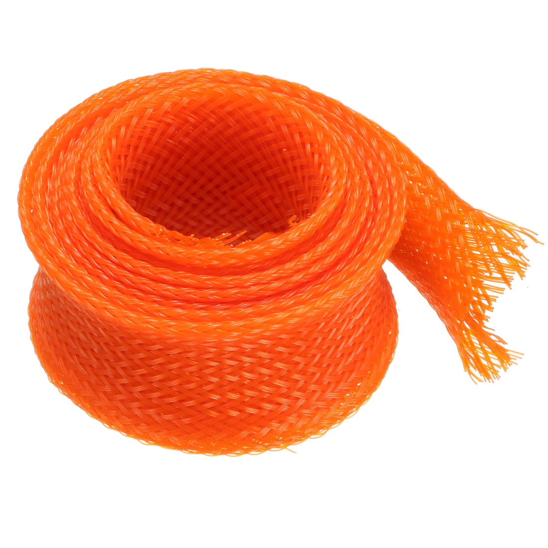25mm Dia Tight Braided PET Expandable Sleeving Cable Wrap Sheath Orange 1M Length