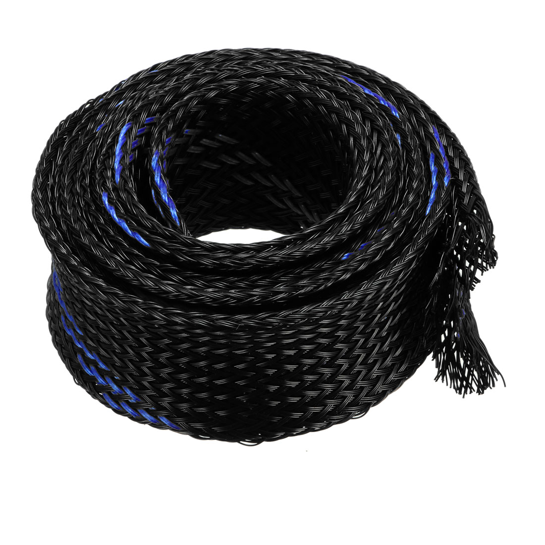 25mm Dia Tight Braided PET Expandable Sleeving Cable Wrap Sheath Black Blue 1M Length