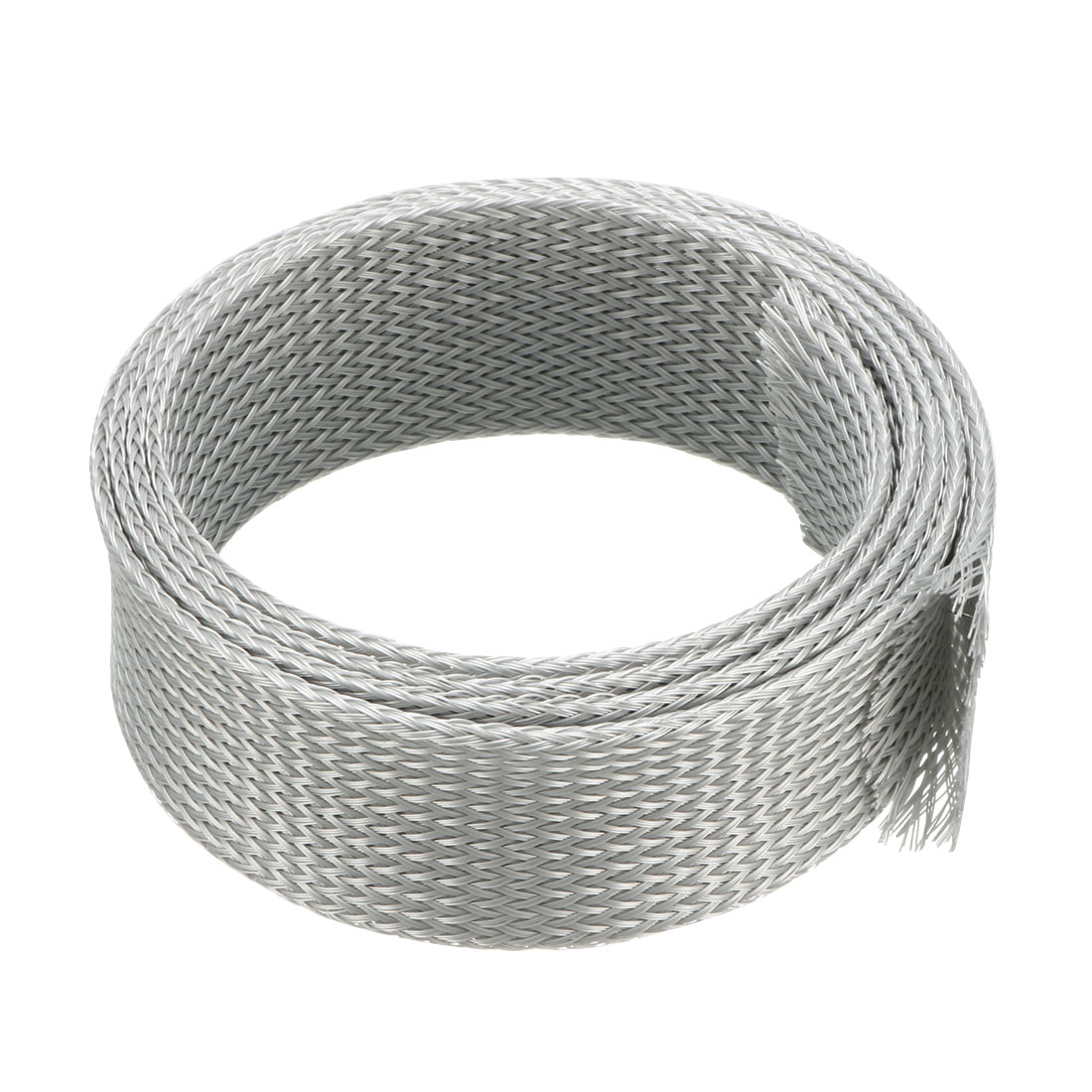 30mm Dia Tight Braided PET Expandable Sleeving Cable Wire Wrap Sheath Gray 1M