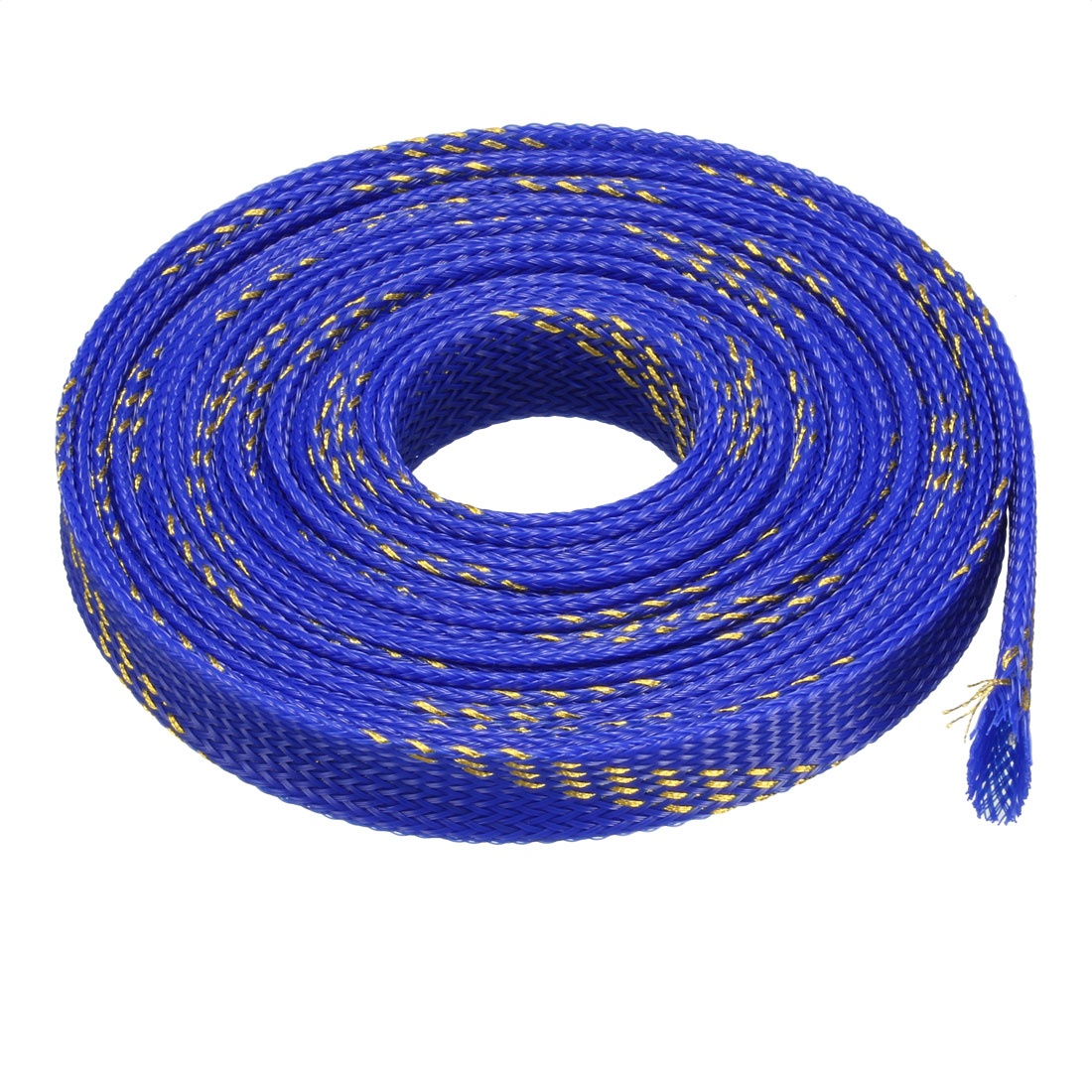 18mm Dia Tight Braided PET Expandable Sleeving Cable Wrap Sheath Golden Blue 16Ft