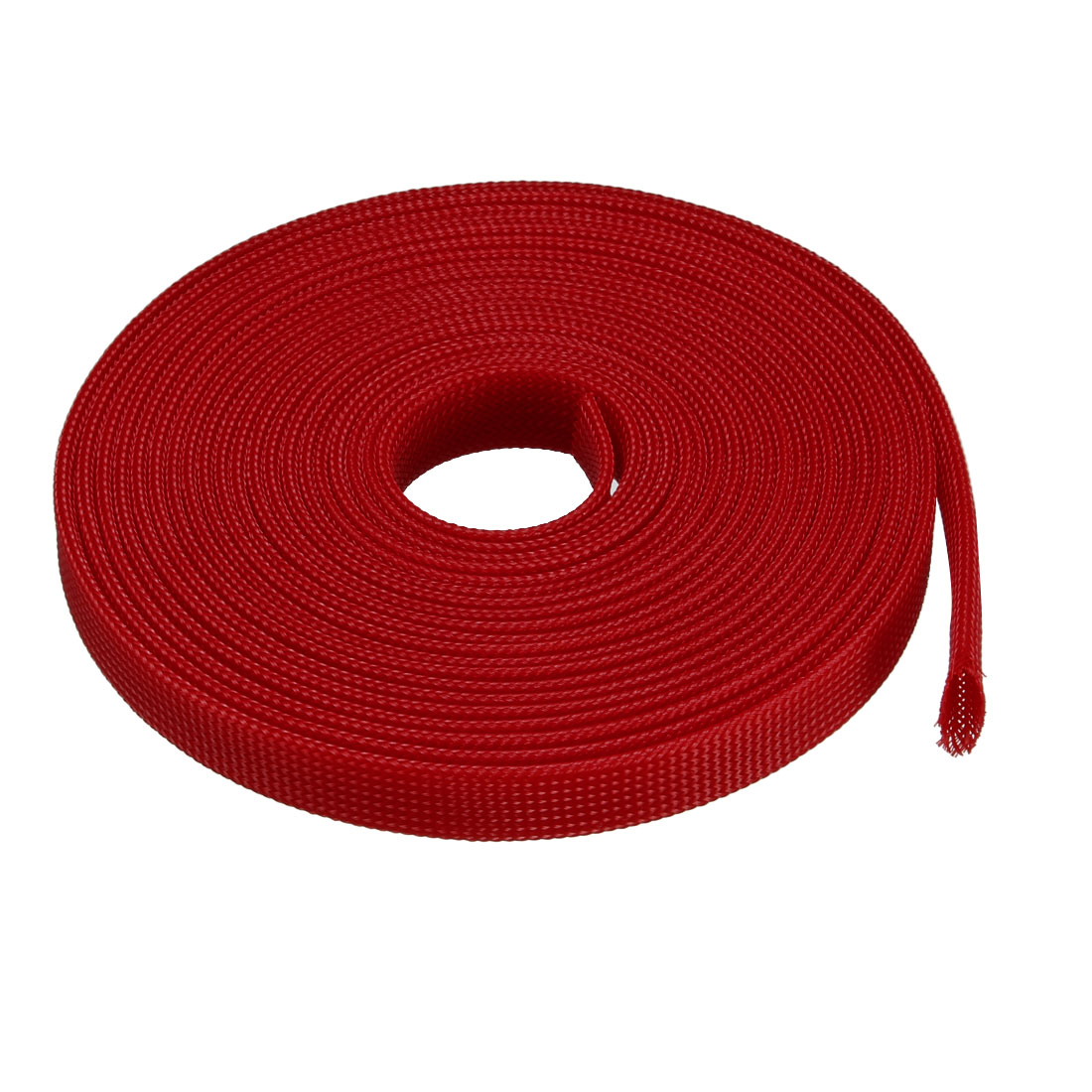 18mm Dia Tight PET Expandable Sleeving Cable Wire Wrap Sheath Red 5M