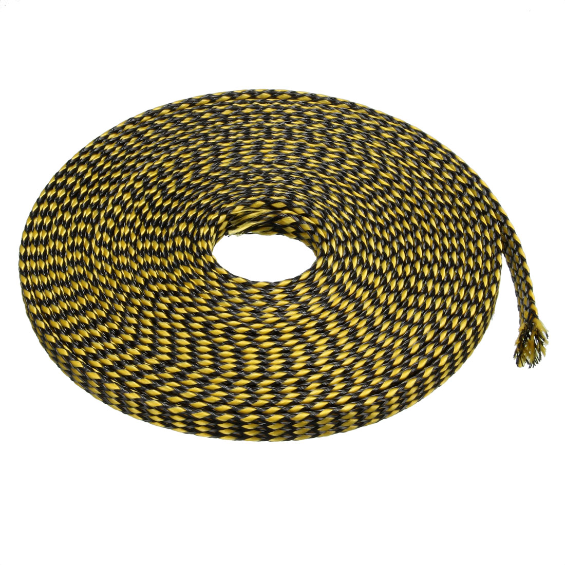 4mm PET Cable Wire Wrap Expandable Braided Sleeving Black Yellow 5M Length