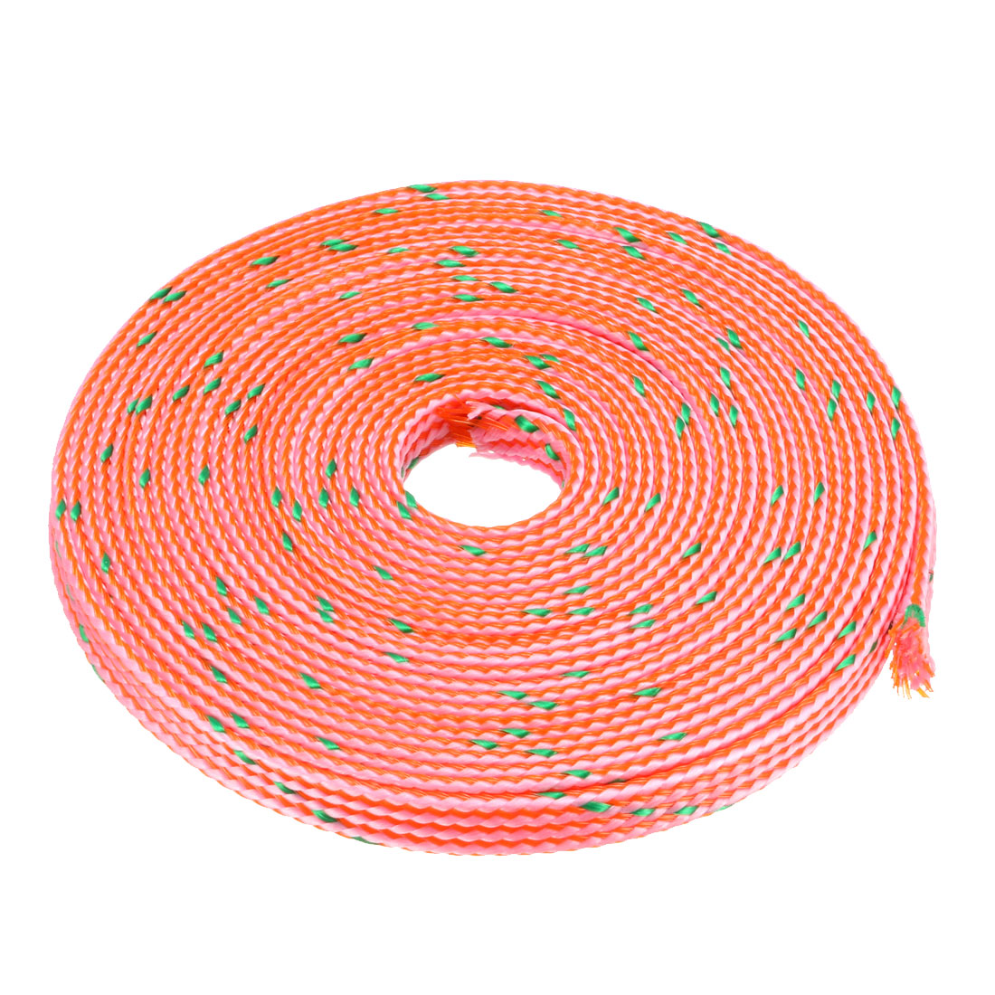4mm Dia Tight Braided PET Expandable Sleeving Cable Wrap Sheath Pink Green 16Ft
