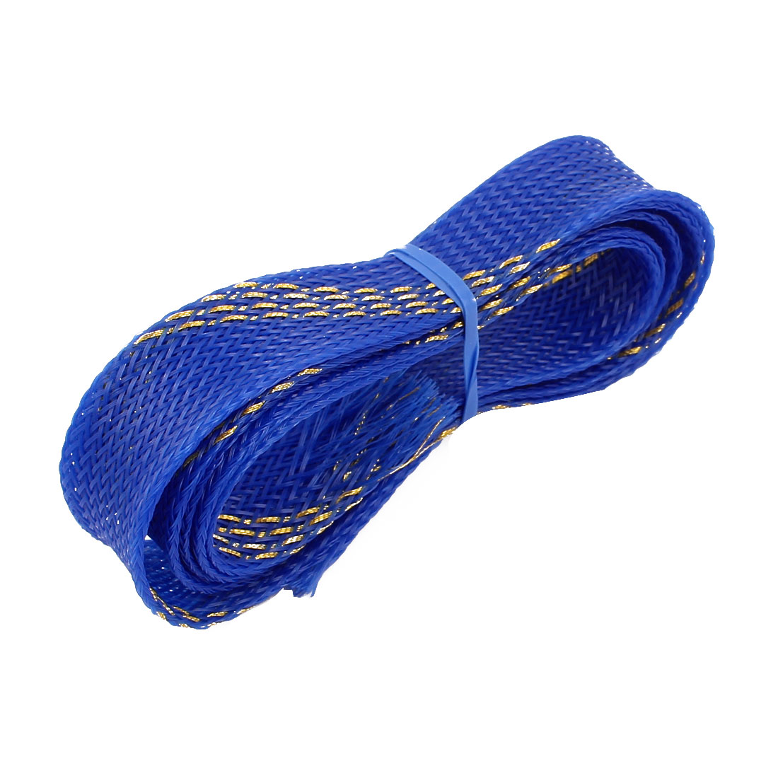 20mm Dia Tight Braided PET Expandable Sleeving Cable Wrap Sheath Golden Blue 1M Length