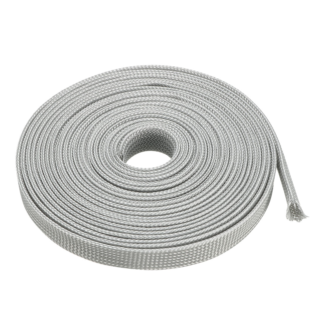 16mm Dia Tight PET Expandable Sleeving Cable Wire Wrap Sheath Gray 5M