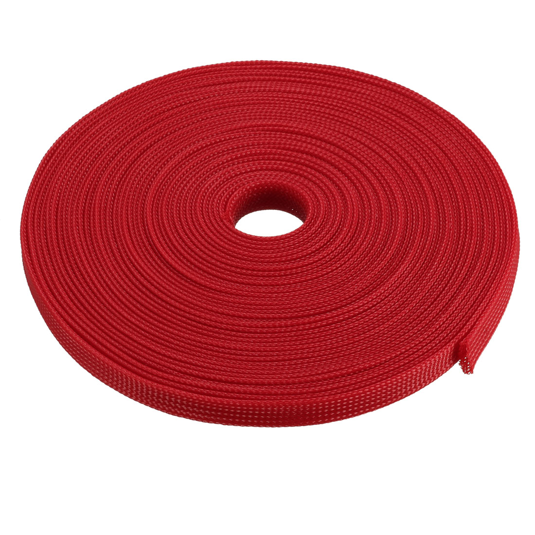 PET Braided Sleeving 32.8 Feet 10m Expandable Cable Wrap 10mm Diameter Wire Sheath Red